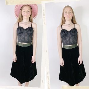 Vintage 60s Velvet Quilted Bow High Waisted Skirt